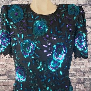 Laurence Kazar Tops - Laurence Kazar Bead and Sequin Top, Size L